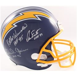Dan Fouts, Charlie Joiner  Kellen Winslow Signed Chargers Full-Size Helmet With Hall of Fame Inscrip