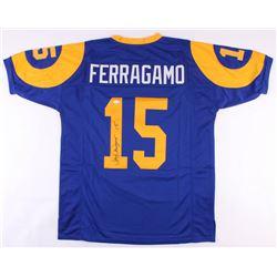 Vince Ferragamo Signed Rams Throwback Jersey (JSA COA)