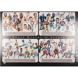 """Super Heroes of Sports"" 30.5x42.75 George Bungarda Lithograph Signed by (60) With Jerry West, Karee"