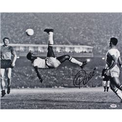 Pele Signed 1965 Bicycle Kick 16x20 Photo (PSA COA)