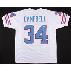 Earl Campbell Signed Oilers Jersey Inscribed  HOF 91  (JSA COA)