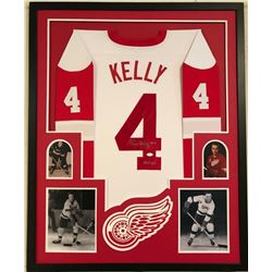 Red Kelly Signed Red Wings 34x42 Custom Framed Jersey Display (JSA COA)