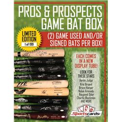 """Pros  Prospects Game Used Bat Box"" (2) Signed/Game Used Bats Per Box!"