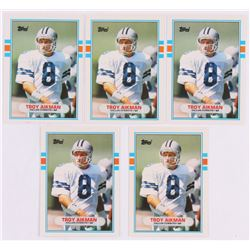 Lot of (5) 1989 Topps Traded #70T Troy Aikman RC