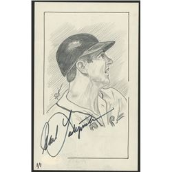Carl Yastrzemski Signed LE Red Sox 5x8 Hand-Drawn Sketch (JSA COA)
