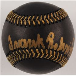 "Frank Robinson Signed OML Black Leather Baseball Inscribed ""HOF '82"" (JSA COA)"