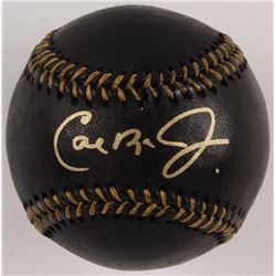 Cal Ripken Jr. Signed OML Black Leather Baseball (JSA COA)