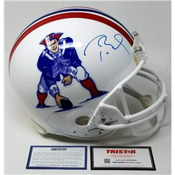 Tom Brady Signed Patriots Throwback Full-Size Authentic On-Field Helmet (Steiner COA  Tristar Hologr