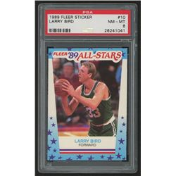 1989-90 Fleer Stickers #10 Larry Bird (PSA 8)