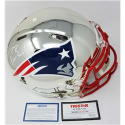 Tom Brady Signed Patriots Chrome Full-Size Authentic On-Field Speed Helmet (Steiner COA  TriStar Hol