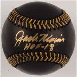 "Jack Morris Signed Black Leather OML Baseball Inscribed ""HOF - 18"" (Beckett COA)"