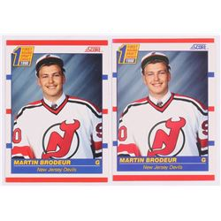 Lot of (2) Martin Brodeur Baseball Cards with 1990-91 Score #439 RC, 1990-91 Score Canadian #439 RC