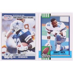 Lot of (2) Emmitt Smith Football Cards with 1990 Pro Set #685 RC, 1990 Topps Traded #27T RC
