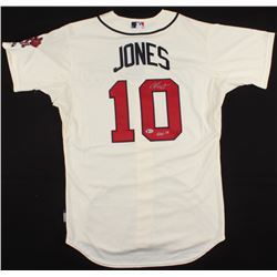 "Chipper Jones Signed Braves Throwback Jersey Inscribed ""HOF 18"" (Beckett COA)"