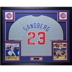 "Ryne Sandberg Signed Cubs 35x43 Custom Framed Jersey Inscribed ""HOF '05"" (JSA COA)"