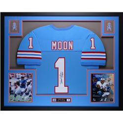 "Warren Moon Signed Oilers 35"" x 43"" Custom Framed Jersey Inscribed ""HOF 06"" (JSA COA)"