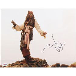 "Johnny Depp Signed ""Pirates of the Caribbean"" 11x14 Photo (PSA Hologram)"