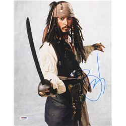 "Johnny Depp Signed ""Pirates of the Caribbean"" 11x14 Photo (PSA COA)"