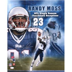 Randy Moss Signed Patriots 16x20 Photo (JSA COA  Moss Hologram)