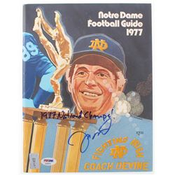 "Joe Montana Signed 1977 Notre Dame Fighting Irish Football Guide Booklet Inscribed ""1977 National Ch"