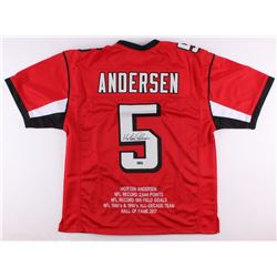 Morten Andersen Signed Falcons Career Highlight Stat Jersey (Radtke COA)