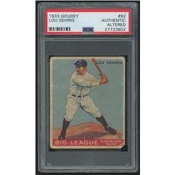 1933 Goudey #92 Lou Gehrig RC (PSA Authentic) (Altered)
