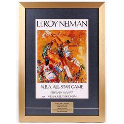 Julius Erving Signed 17x23.5 LeRoy Neiman Art Print Custom Framed Display (PSA COA)