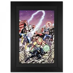 """Stan Lee Signed """"Avengers #21"""" Limited Edition 29x40 Custom Framed Giclee on Canvas by George Perez"""