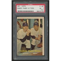1957 Topps #407 Yankees Power Hitters / Mickey Mantle / Yogi Berra (PSA 7) (OC)