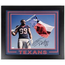 J. J. Watt Signed Texans 23.5x27.5 Custom Framed Photo Display (JSA COA)