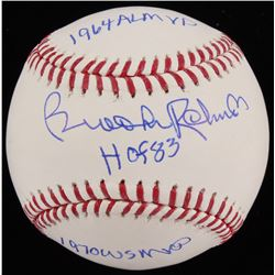 Brooks Robinson Signed OML Baseball Inscribed  1964 AL MVP   HOF 83    1970 WS MVP  (JSA COA)