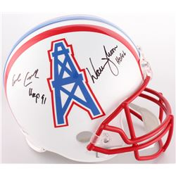 "Warren Moon  Earl Campbell Signed Oilers Full-Size Helmet Inscribed ""HOF 06""  ""HOF 91"" (JSA COA  Bec"