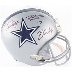 Zack Martin, Tyron Smith  Travis Frederick Signed Cowboys Full-Size Helmet (JSA COA)