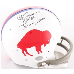 """O.J. Simpson Signed Bills Full-Size Throwback Suspension Helmet Inscribed """"H.O.F. 85""""  """"The Juice Is"""