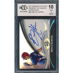 2011 Bowman Platinum Prospect Autograph Refractors #BH Bryce Harper RC (BCCG 10)