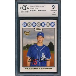 2008 Topps Update Gold Foil #UH240 Clayton Kershaw RC (BCCG 9)