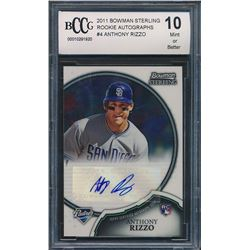 2011 Bowman Sterling Rookie Autographs #4 Anthony Rizzo (BCCG 10)