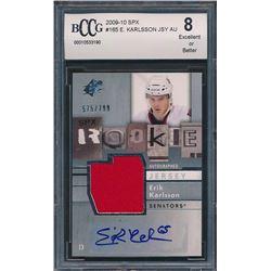 2009-10 SPx #165 Erik Karlsson Jersey Autograph RC (BCCG 8)
