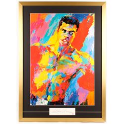 "LeRoy Neiman Signed ""Muhammad Ali-Athlete of the Century"" 27x37 Custom Framed Cut Display (PSA COA)"