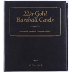 Complete Set of (50) Danbury Mint 22kt Gold Baseball Cards with Folder