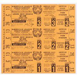 Unused 1972 Tigers vs. Athletics American League Championship (3 Ticket Sheet)
