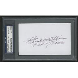 """Hershel Williams Signed 3x5 Index Card Inscribed """"Medal of Honor"""" (PSA Encapsulated)"""