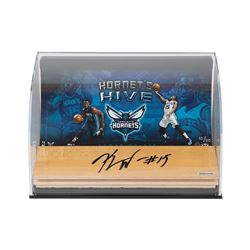 """Kemba Walker Signed Hornets """"Hive"""" 7x11x5 Game-Used Floor Piece Curve Display (UDA COA)"""