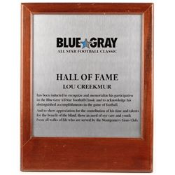 Lou Creekmur 15.75x20 Blue Gray All-Star Football Classic Hall of Fame Plaque