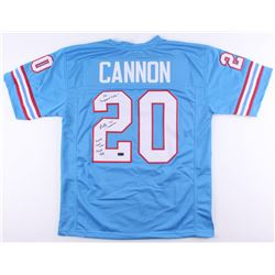 Billy Cannon Signed Oilers Jersey Inscribed  The 'Origninal Oilers    Houston First Ever Draft Pick