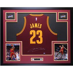 LeBron James Signed Cavaliers 35x43 Custom Framed Jersey (UDA COA)