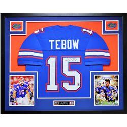 "Tim Tebow Signed Florida 35"" x 43"" Custom Framed Jersey (Palm Beach COA)"