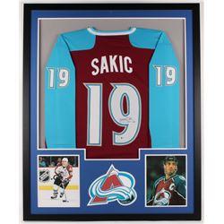 Joe Sakic Signed Avalanche 34x42 Custom Framed Jersey Display (Beckett COA)