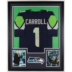 Pete Carroll Signed Seahawks 34x42 Custom Framed Jersey Display (Beckett COA)