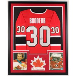 Martin Brodeur Signed Canada 34x42 Custom Framed Jersey Display (Beckett COA)